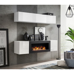 Air N1 White Small Wall Set with Fireplace
