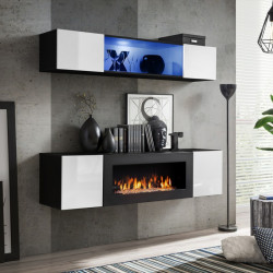Air N3 White / black Small Wall Set with Fireplace