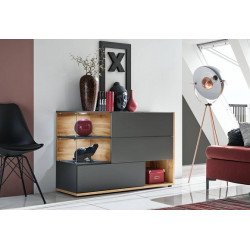 Sing I Anthracite Sideboard 3 doors with LED Lights