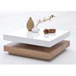 Helo high gloss coffee table with oak base