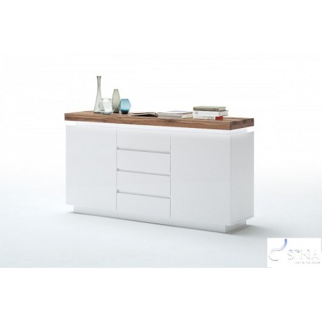 Eris I - gloss sideboard with LED lights and natural OAK top