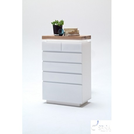 Eris V - gloss sideboard with LED lights and natural OAK top