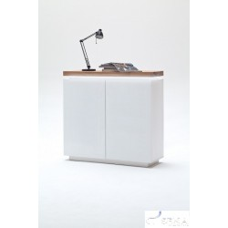 Eris VI - gloss sideboard with LED lights and natural OAK top