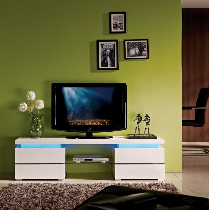 Ohio High Gloss Tv Unit With Led Lights Tv Stands