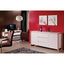 Genf- white sideboard with oak frame