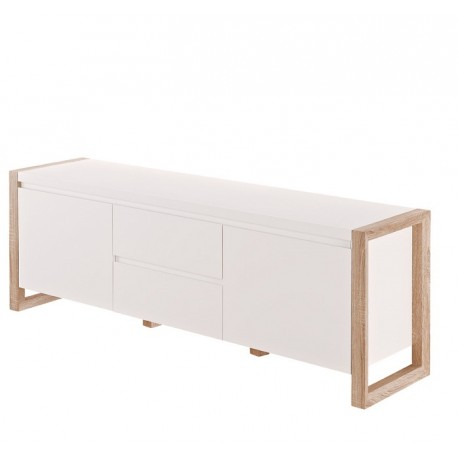 Genf III- white TV unit with oak frame