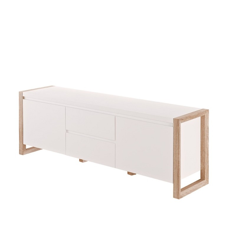 Genf III- white TV unit with oak frame - TV stands (1066) - Sena ...