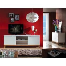 Zurich- white TV cabinet with oak legs