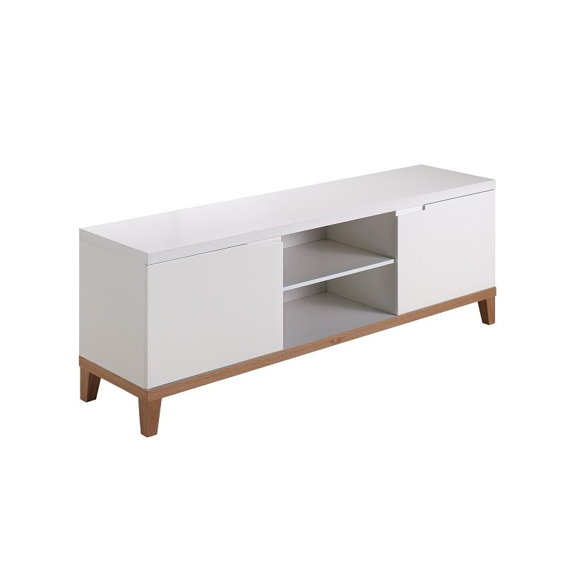 Zurich White TV Cabinet With Oak Legs