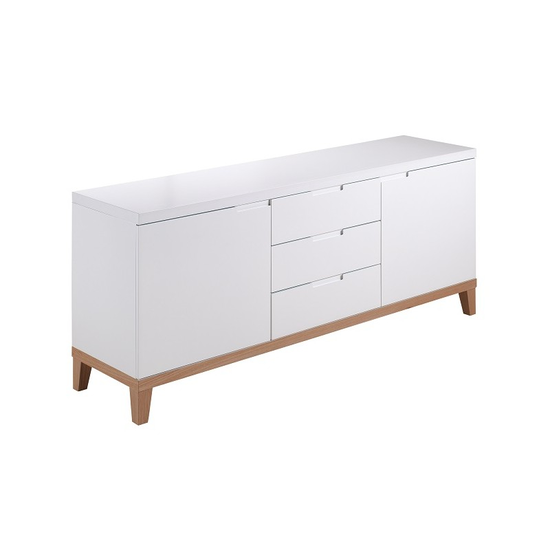 Zurich White Sideboard With Oak Legs