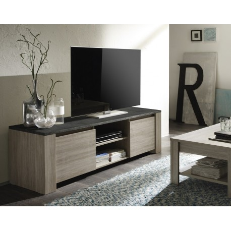 Elba   Oak TV Stand With Marmor Top