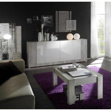 Mars - gloss sideboard with pine finish