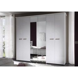 Ambrosia lacquered gloss wardrobe with mirror doors