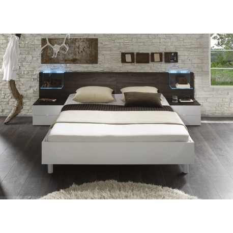 Tambura II- Italian modern bed white and wenge