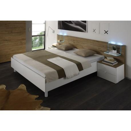 Tambura II- Italian modern bed white and honey venner