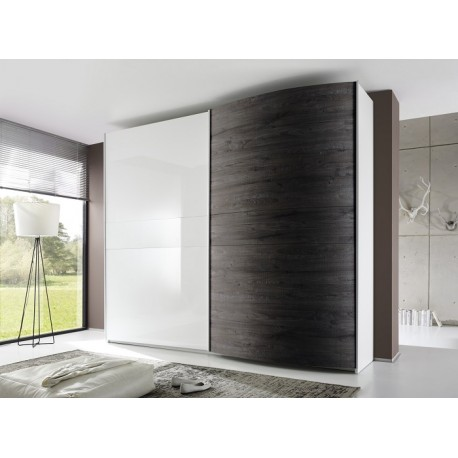 Tambura II - high gloss wardrobe with curved door