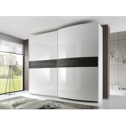 Tambura III - high gloss wardrobe with wooden decor