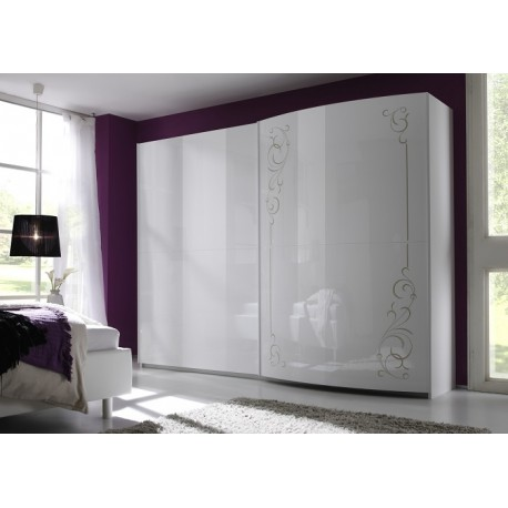 Sibilla high gloss wardrobe with curved doors wardrobes sena home furni - Armoire chambre coulissante ...