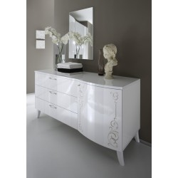 Sibilla - high gloss chest of drawer with curved door