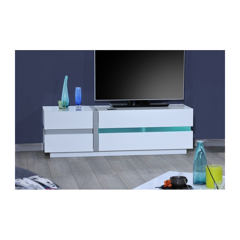 ... - white TV Stand with LED lights - TV stands - Sena Home Furniture