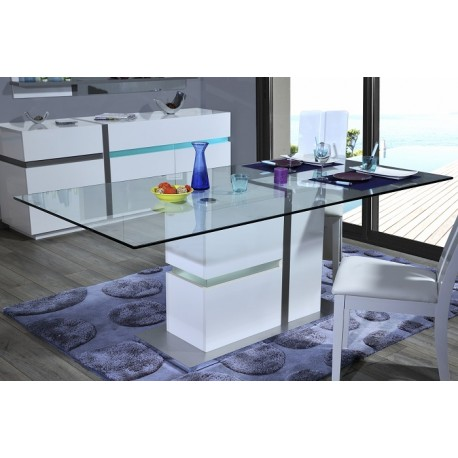 Cross - glass top table with high gloss finish and led lights