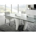 Elegante high gloss dining table with glass top