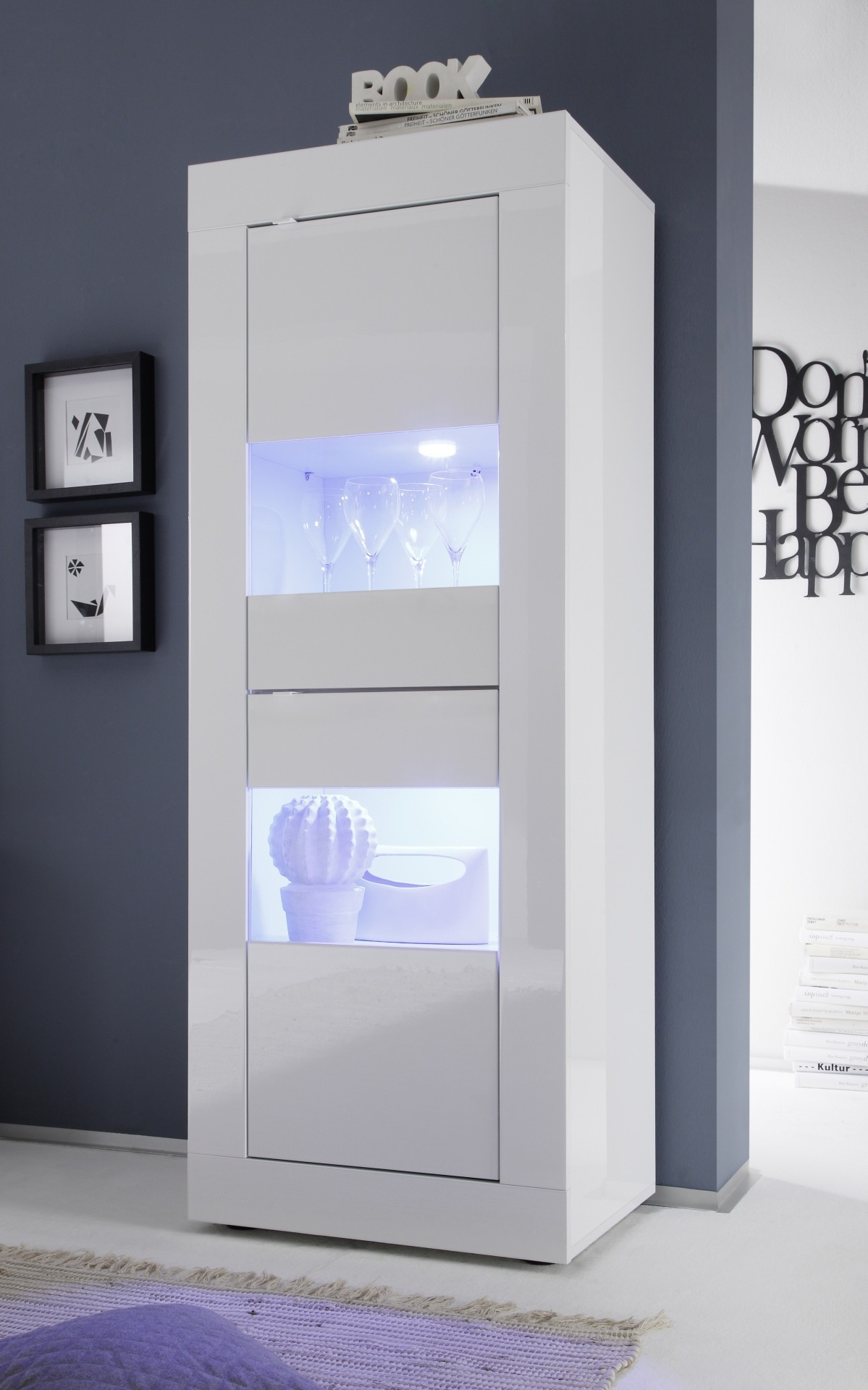 Dolcevita Narrow Display Cabinet In High Gloss Display