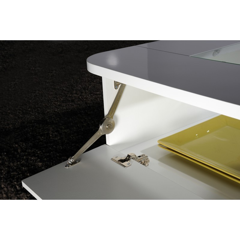 Modo contemporary high gloss coffee table with optional led lights coffee tables sena home Led coffee table