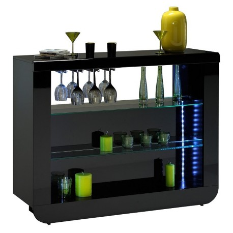 Modo Contemporary Black Gloss Drinks Cabinet Display