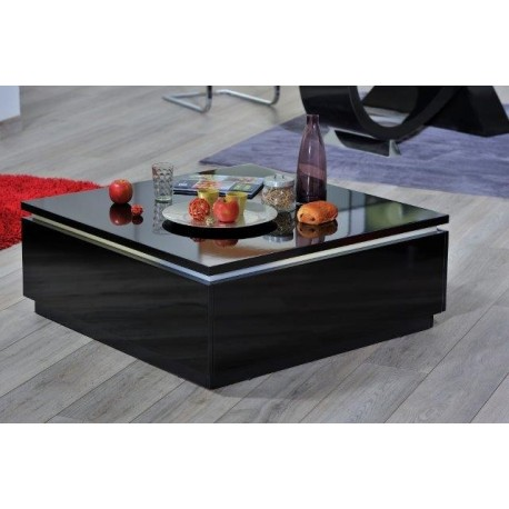 orde - black high gloss coffee table with led lights - coffee