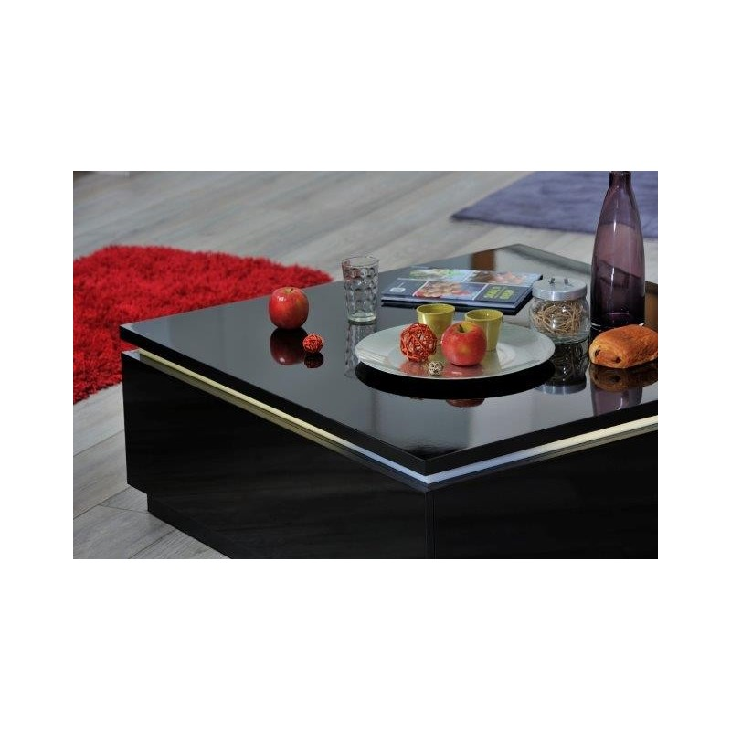 Orde black high gloss coffee table with led lights coffee tables sena home furniture Led coffee table