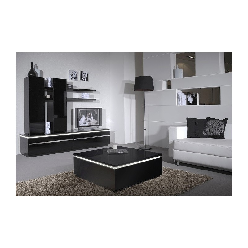 Orde Black High Gloss Coffee Table With Led Lights