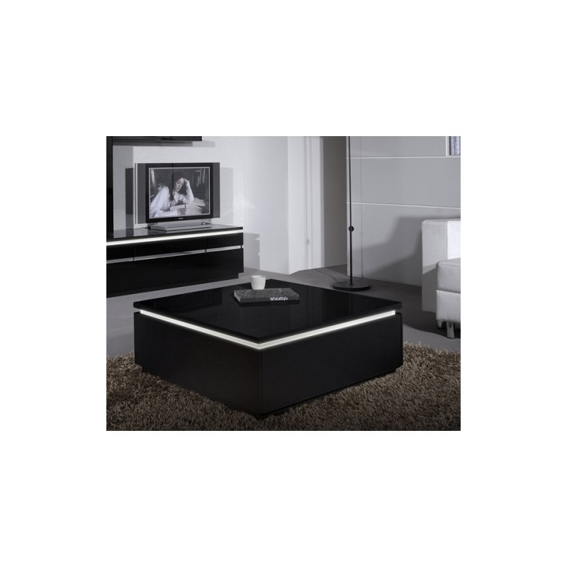 Coffee Table White Gloss Black Glass Top Coffee Table: Orde Black High Gloss Coffee Table With Led Lights