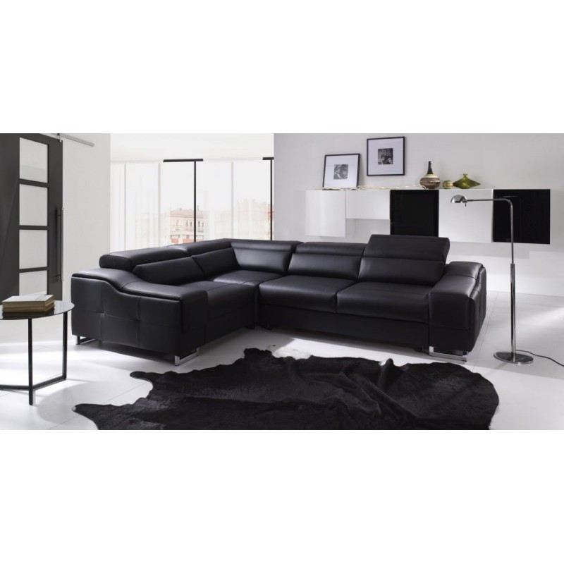 Boston modern leather corner sofa bed sofas sena home for Leather corner sofa beds uk