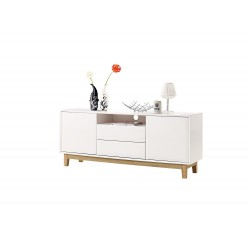 Milano II- white gloss sideboard with oak legs