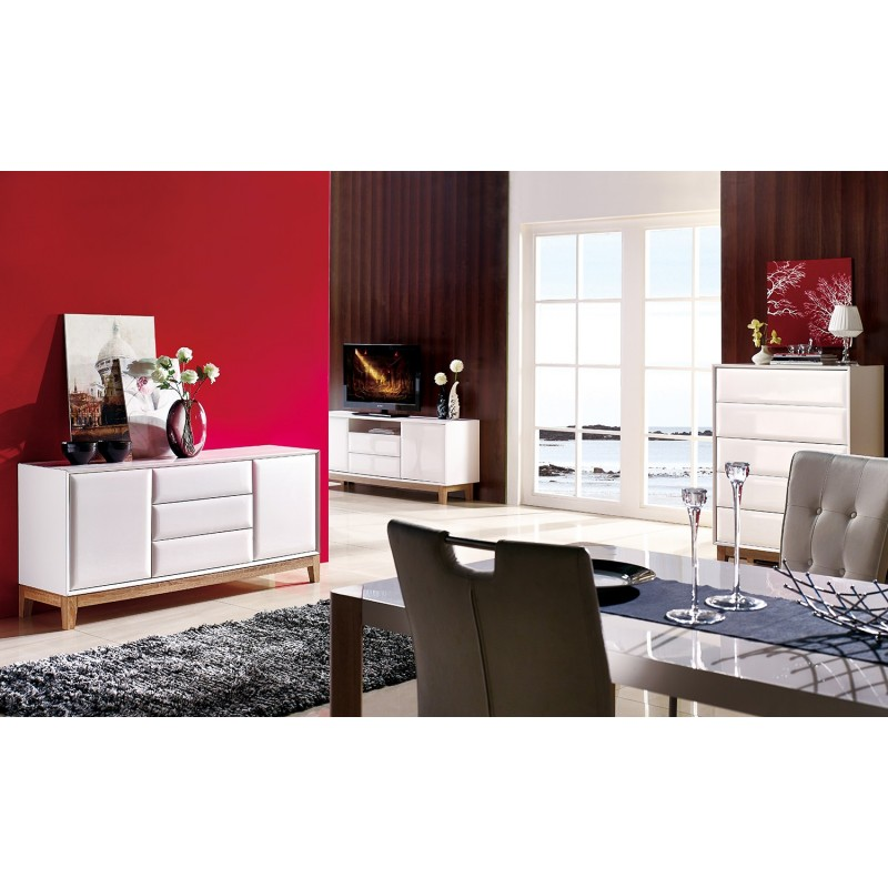 Milano Ii White Gloss With Oak Legs Sideboards 1405 Sena Home