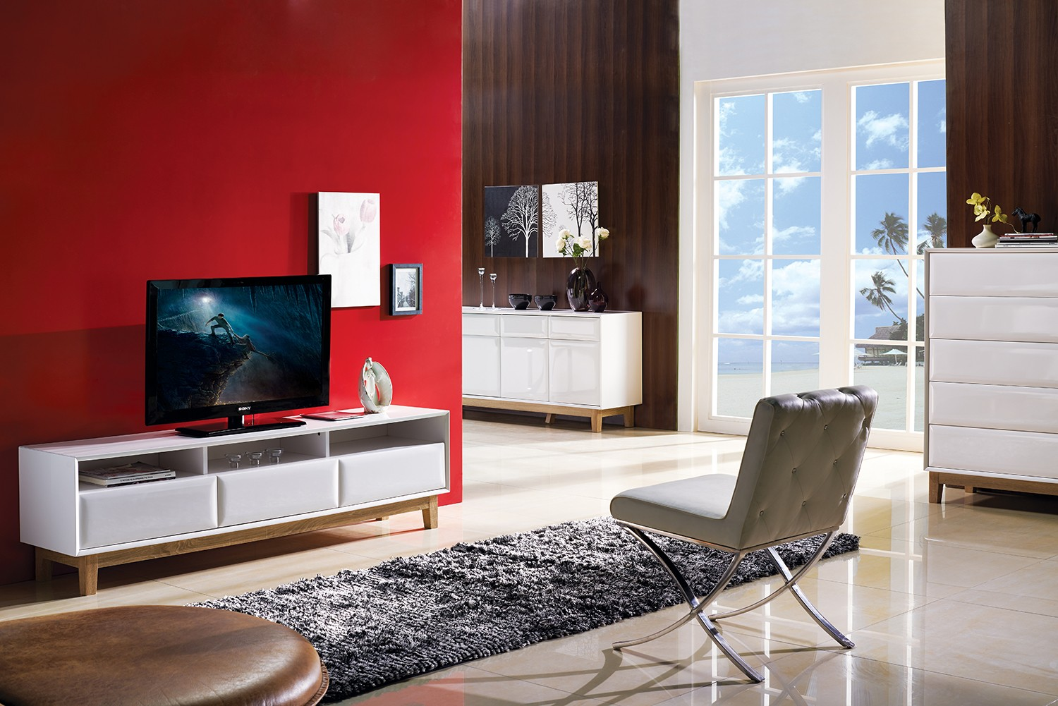 White Gloss Furniture Living Room Milano White Gloss Tv Stand With Oak Legs Sideboards Sena