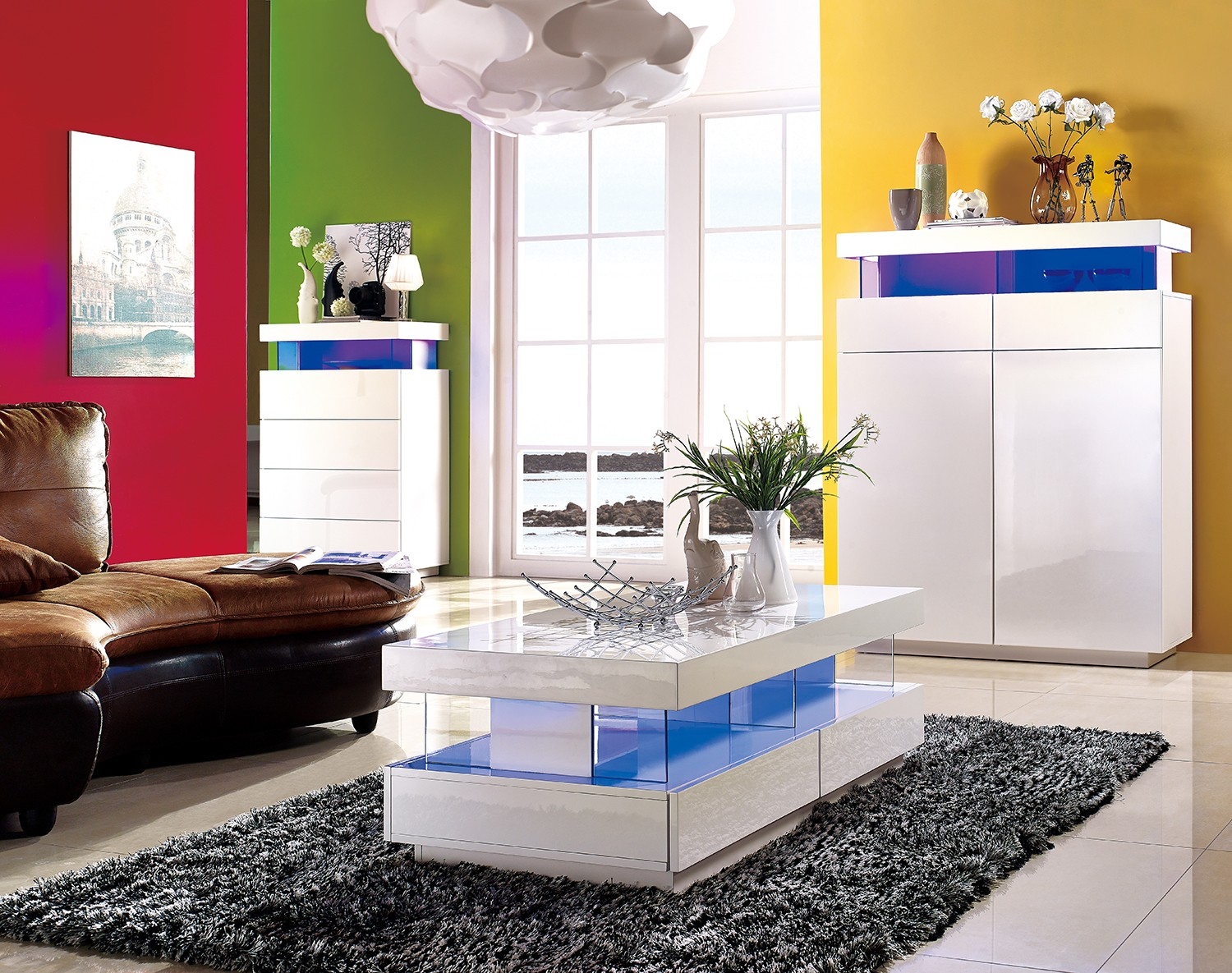 Amsterdam gloss coffee table with led lights sena home furniture geotapseo Gallery