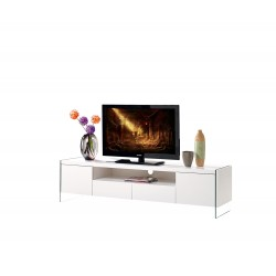Lumio II - lacquer TV Stand with glass legs