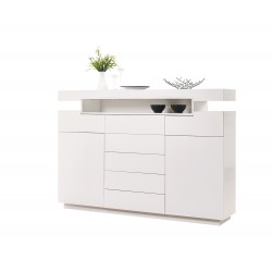 Rotterdam - white tall sideboard with LED lights