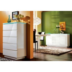 Lido V - gloss chest of drawers with LED lights