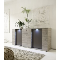 Palermo - 3 door sideboard in oak and grey finish