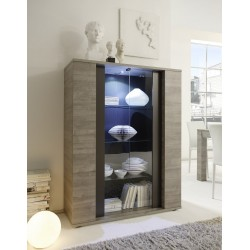 Palermo - 2 door display cabinet in oak and grey finish