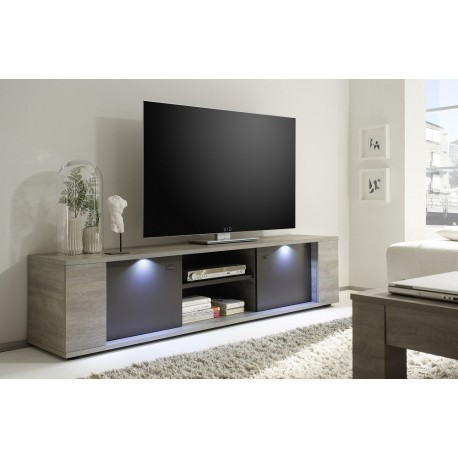 palermo tv stand in oak grey with led lights tv stands. Black Bedroom Furniture Sets. Home Design Ideas