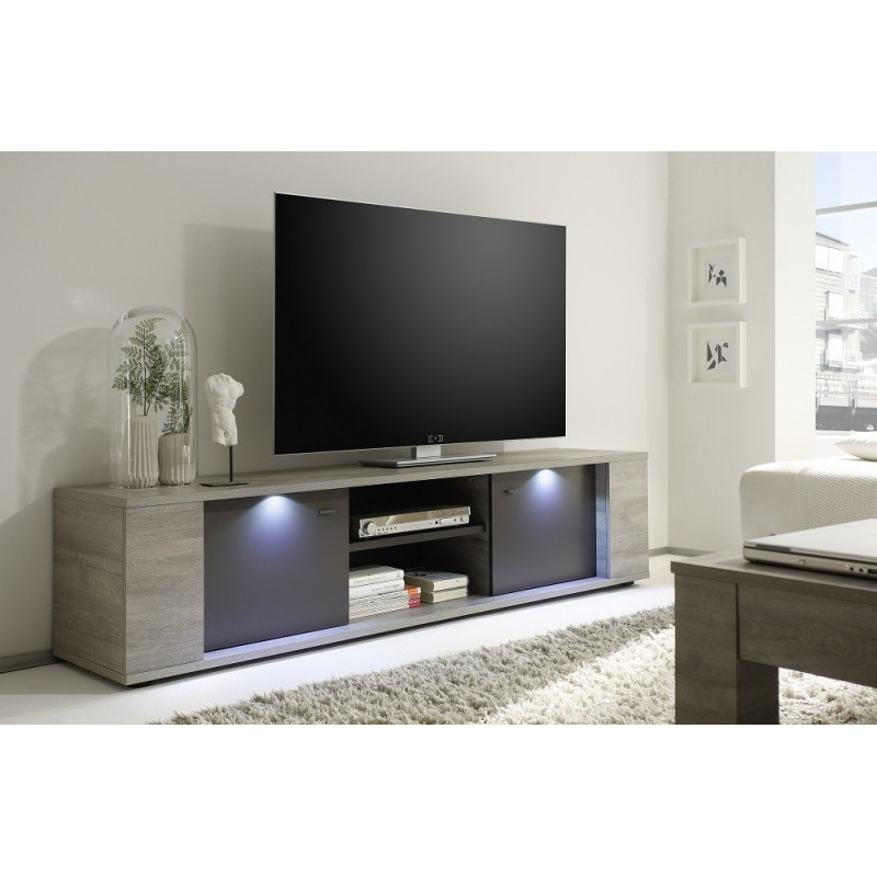 Palermo tv stand in oak grey with led lights tv stands for Laquer un meuble