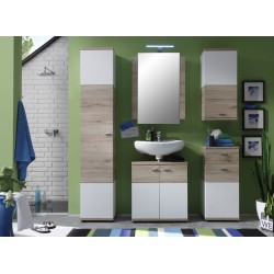 Campus - high gloss and oak finish bathroom set