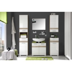 One - high gloss and oak bathroom set