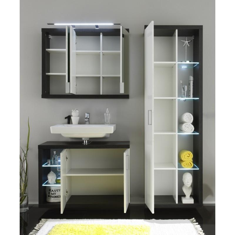 White Gloss Led Furniture: High Gloss Bathroom Set With LED Lighting (1541