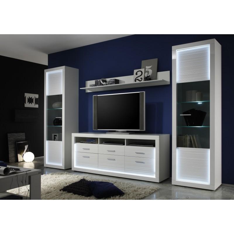 Modern tv wall unit 3d model - Iluminati Iv Large Gloss Tv Set With Led Lights Wall