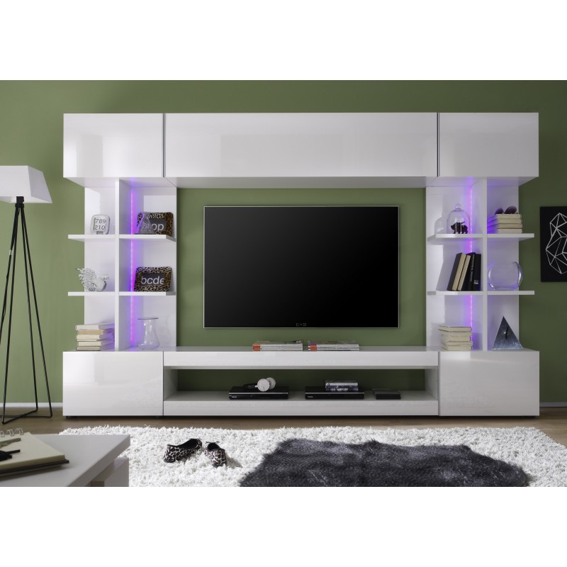 Tres modern tv wall set with rgb led lights wall units for Modern tv set furniture